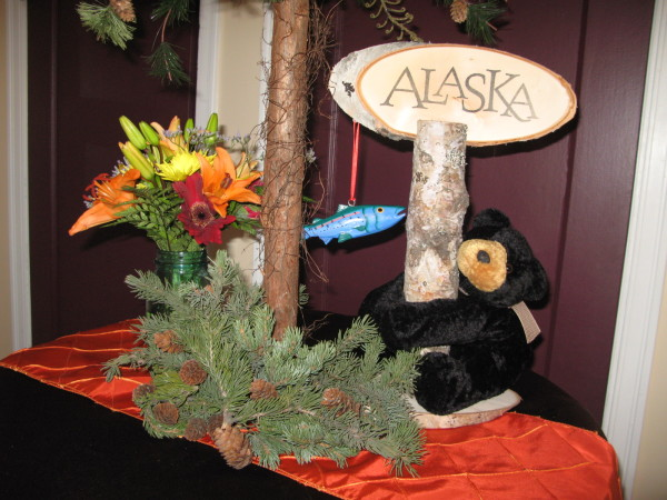 Wood Centerpiece with Stuffed Bear