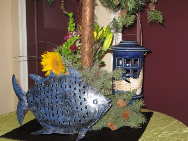 Wood Centerpiece with Lantern and Fish
