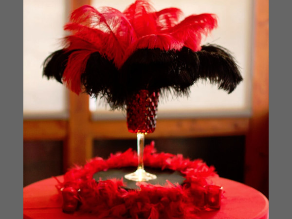 Red and Black Hurricane Votives with Feathers