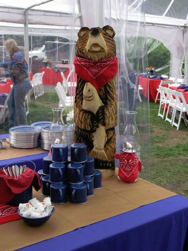 Carved Wooden Bear Centerpiece