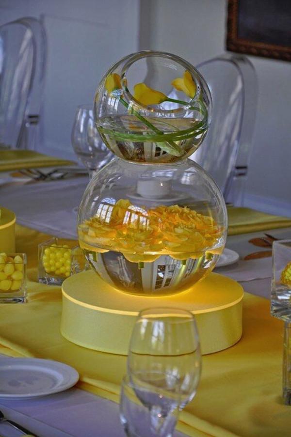 Yellow Stacked Studio Glass and Round Vase