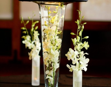 Tall Trumpet Vase with Lamp Shade and Frosted Vases