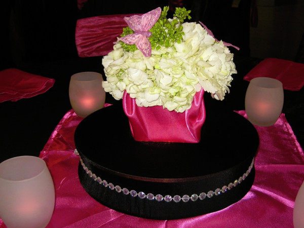 Pink and Black Theme with White Floral