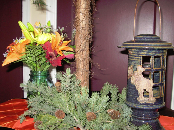 Mixed Floral in Mason Jar with Ceramic Lantern