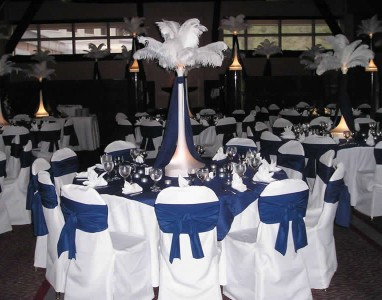 White Feather Extravaganza with Blue Accents