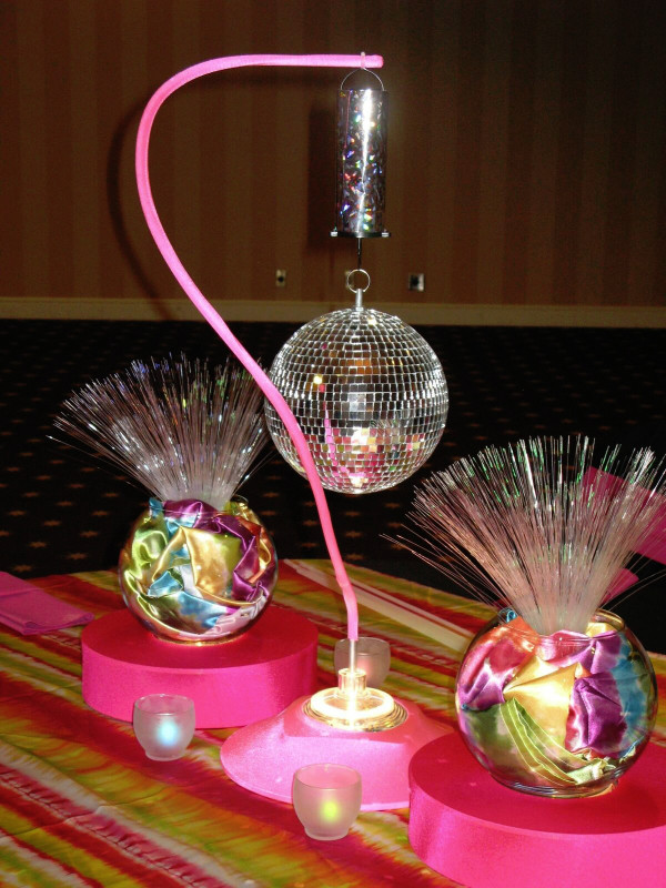 Disco Ball and Tie-dye Fiber Optic Centerpiece
