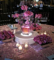 Romantic V-Shaped Vase with Pink Roses
