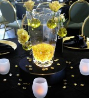 Yellow Rose V-Shaped Vase with Bubbles