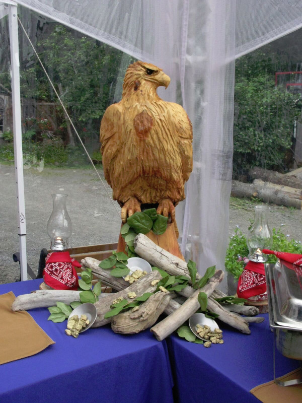 Carved Wooden Eagle Centerpiece