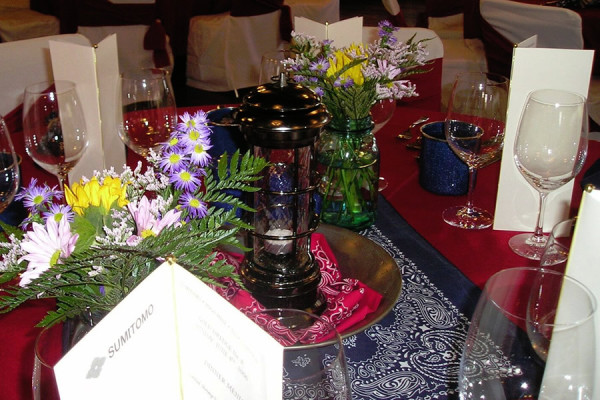 Mixed Floral in Mason Jars with Lantern Centerpiece