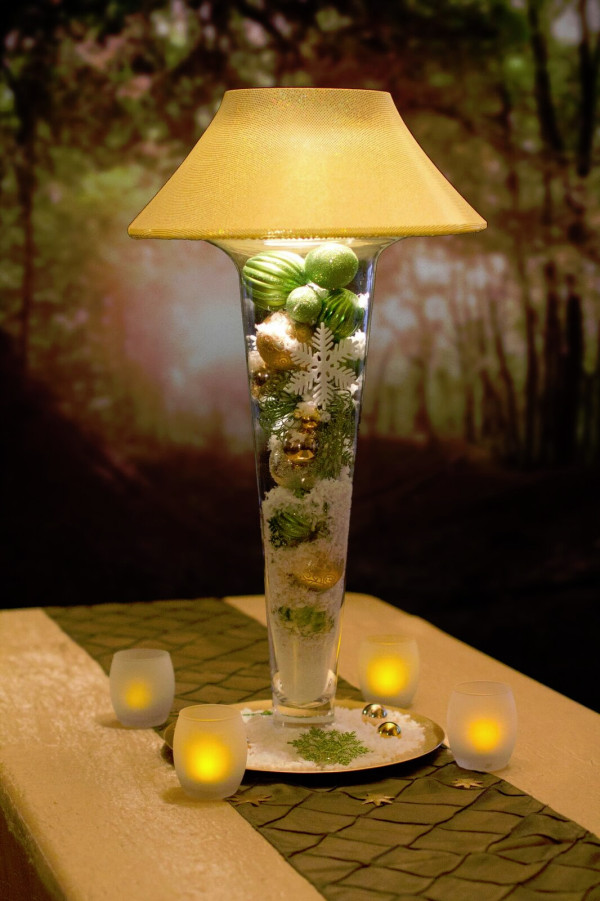 Green and Gold Holiday Tall Trumpet Lamp