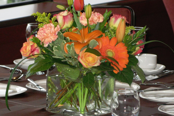 Fall Floral in Square Vase