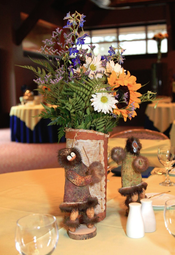 Spirit Dolls with Birch Bark Vase