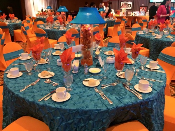 Orange and Teal Centerpiece